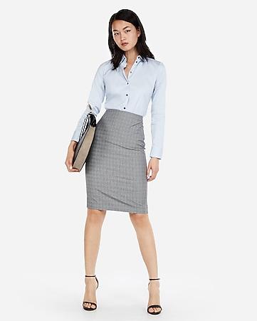 8df8fde7d92 Express View · high waisted plaid pencil skirt