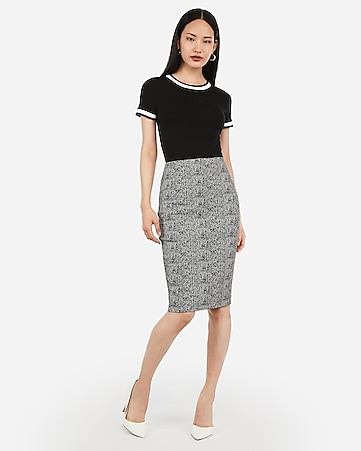 high waisted jacquard pencil skirt