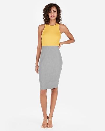749db035f639ab High Waisted Clean Pencil Skirt | Express