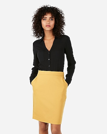 a136b705c6 Express View · high waisted pocket pleated pencil skirt