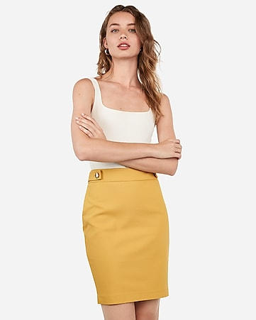 high waisted tab button pencil skirt