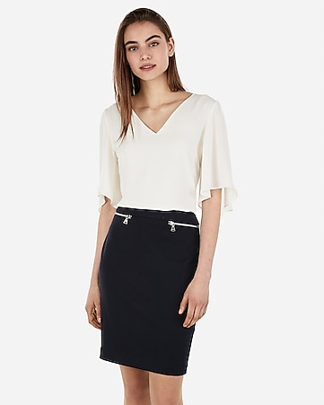 high waisted zip pocket pencil skirt