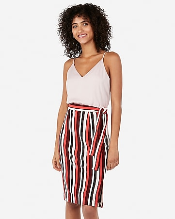 high waisted striped side tie sweater pencil skirt