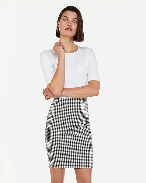 a54d03c65 High Waisted Gingham Pencil Skirt | Express