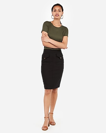 high waisted patch pocket pencil skirt