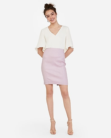9e9804fdc Express View · high waisted linen-blend seamed pencil skirt