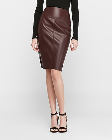 vegan leather seamed pencil skirt