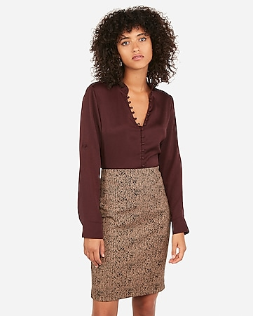 high waisted jacquard knit pencil skirt