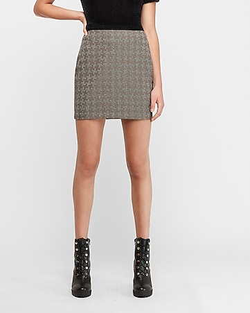 high waisted marled houndstooth straight mini skirt