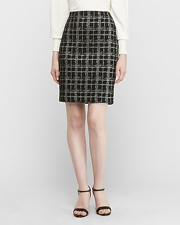 high waisted metallic windowpane pencil skirt