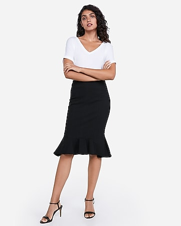 high waisted fluted pencil skirt