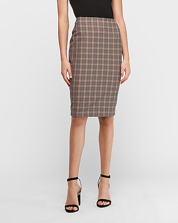 windowpane plaid high waisted clean pencil skirt