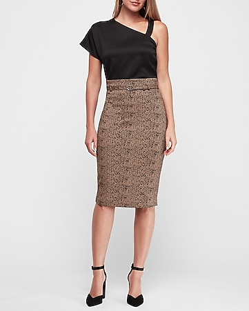 high waisted jacquard belted midi skirt