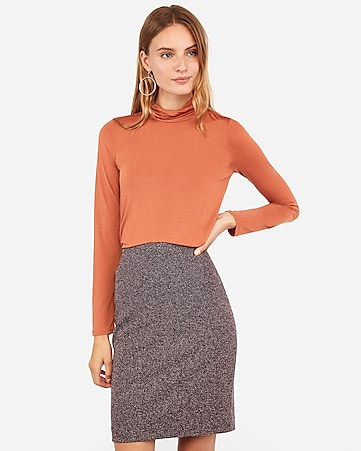 high waisted tweed clean front pencil skirt