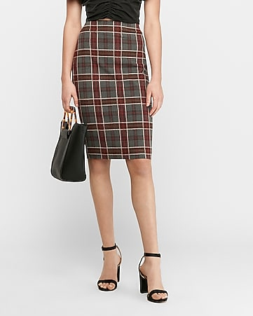 high waisted textured plaid pencil skirt