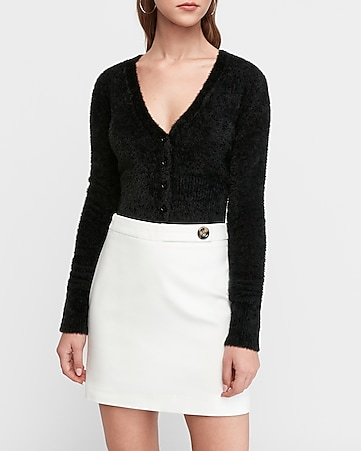 high waisted button tab mini skirt