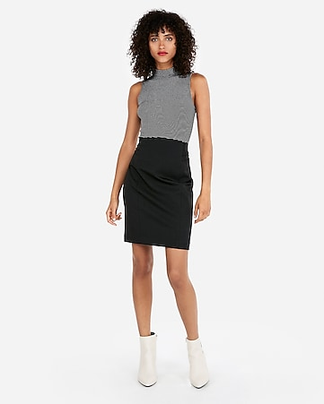 b11de6744ca High Waisted Pintucked Pencil Skirt