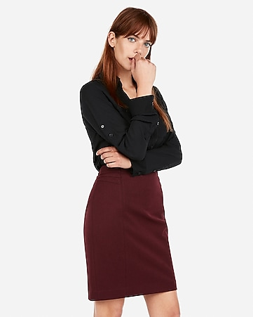 2f6f6dbd837 Express View · high waisted pintucked pencil skirt