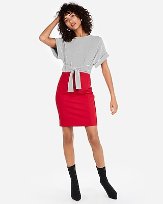 petite high waisted pintuck pencil skirt