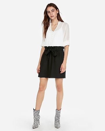 Express View · high waisted sash-tie waist midthigh skirt 9711e6751
