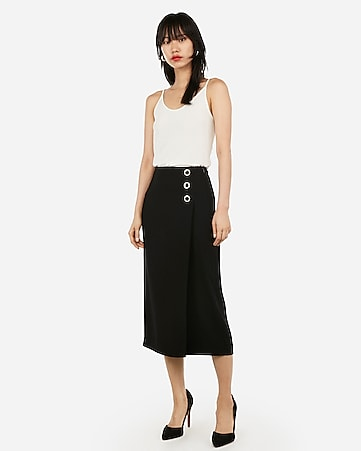 8b94592d3 Express View · high waisted side button wrap midi skirt
