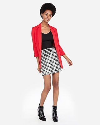 petite high waisted houndstooth straight mini skirt