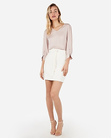 Express View · high waisted belted paperbag skirt f22939de5