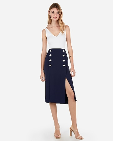 Express View · high waisted slit front button midi skirt bcd0c5db2