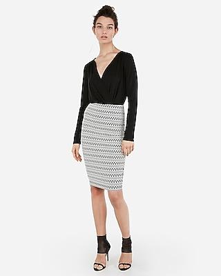 petite high waisted aztec pencil skirt