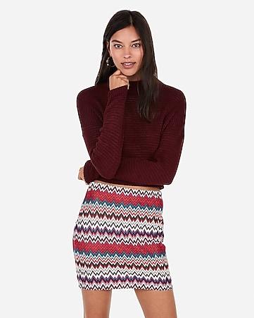 de01d5899 High Waisted Chevron Knit Mini Skirt | Express