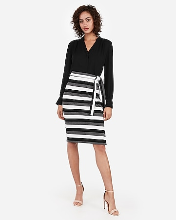 77fd1c004d Express View · high waisted multi-stripe side tie pencil skirt