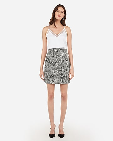 High Waisted Leopard Print Midi Skirt by Express