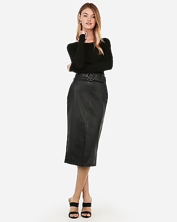 (Minus The) Leather High Waisted Belted Midi Pencil Skirt by Express