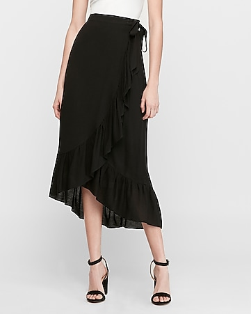high waisted wrap midi skirt