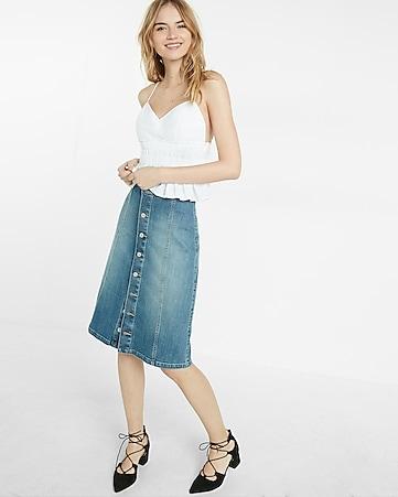 Button Front Denim Midi Skirt | Express