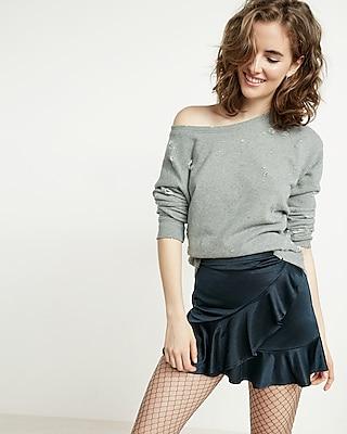high waisted satin ruffle mini skirt express