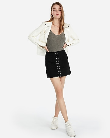 Express View · lace up front mini skirt 94426c795