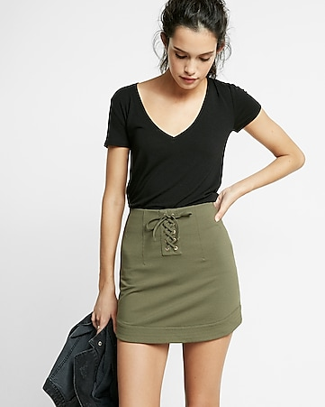 lace-up twill military mini skirt