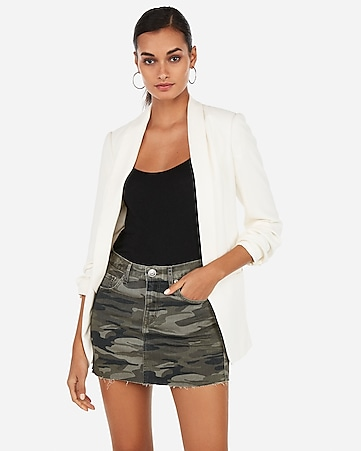 b51df5b31 Express View · mid rise raw cut camo mini skirt
