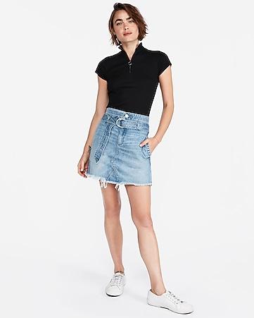27468b6a31 d-ring belted denim mini skirt