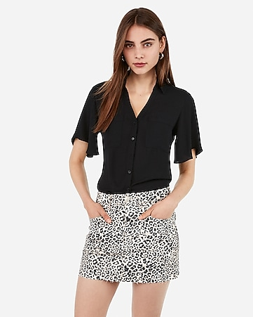 mid rise leopard denim mini skirt