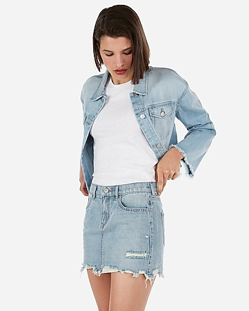ff7bdbcbc Express View · mid rise medium wash distressed mini jean skirt