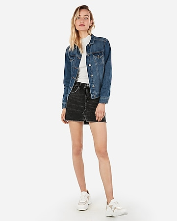 Mid Rise Straight Mini Black Jean Skirt by Express