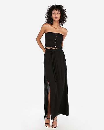 f71e901d4 Express View · high waisted sash tie wrap maxi skirt