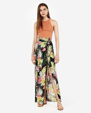 super high waisted wrap maxi skirt