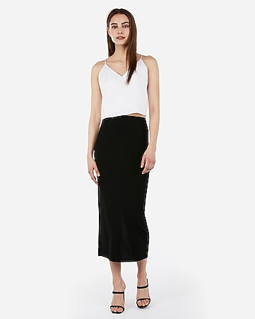 3bcc31c5a Express View · high waisted back slit midi skirt