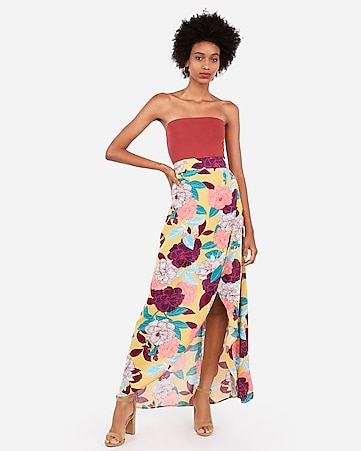 2a62a24f9 Express View · high waisted tropical print maxi skirt