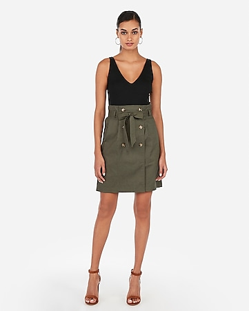 029f66fcd9378 high waisted double button sash tie mid-thigh skirt