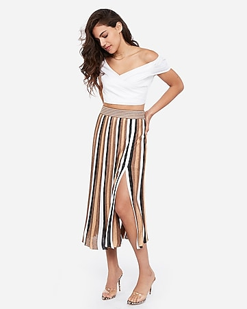 rocky barnes striped midi skirt