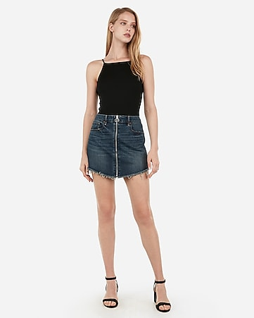 mid rise zip front frayed denim mini skirt